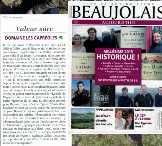 Article Beaujolais aujourd'hui mars 2017